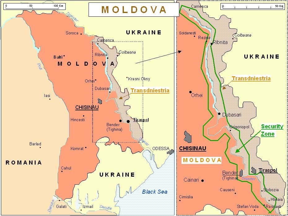 Mappa Moldova-Transnistria